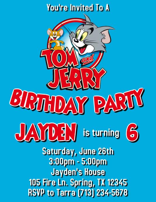 jerry birthday invitation template