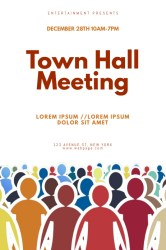 meeting hall town template flyer poster 24in 36in
