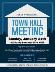 meeting hall town poster template flyer templates community posters flyers edit postermywall promotional customizable