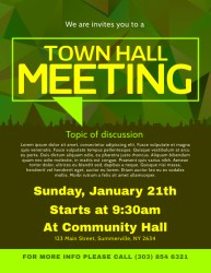 meeting hall town template poster flyer flyers community event postermywall templates posters announcement events brochure customizable edit letter open