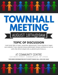 meeting template flyer town townhall hall templates posters postermywall customizable screen edit