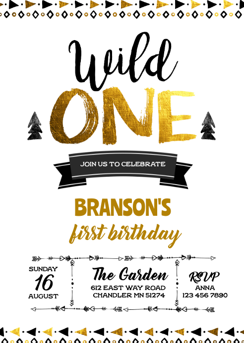 tribal wild one birthday invitation