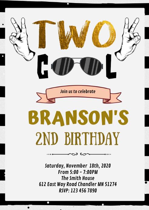 two cool boy birthday invitation