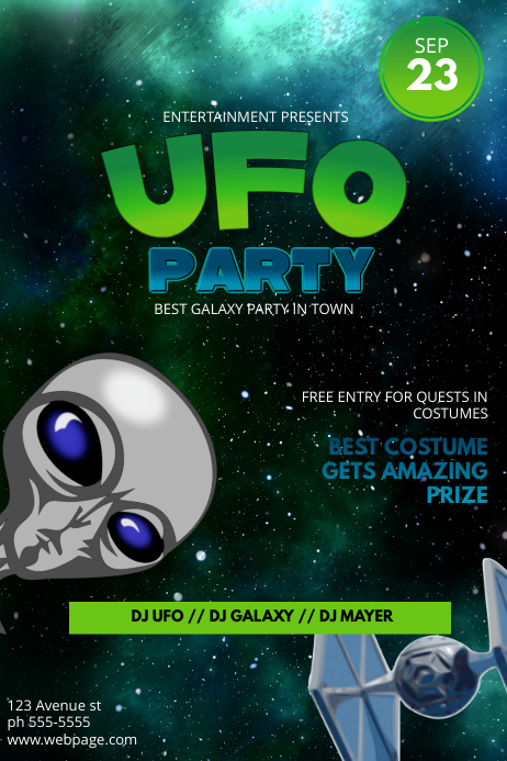 ufo costume party flyer