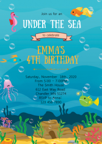 mermaid invitation customizable design