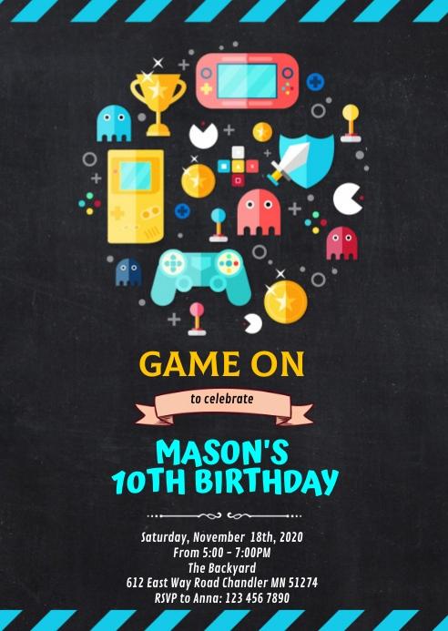 videospiel geburtstagsfeier einladung