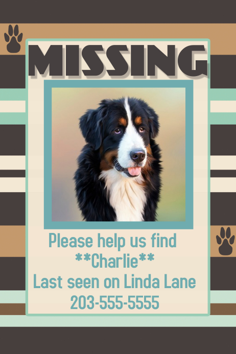 wanted missing lost dog poster flyer
