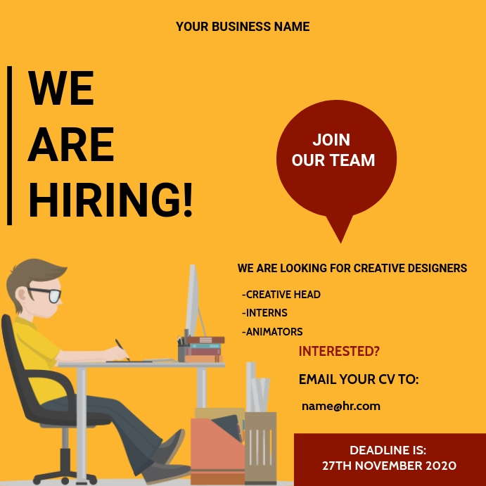 We are hiring flyer Template | PosterMyWall