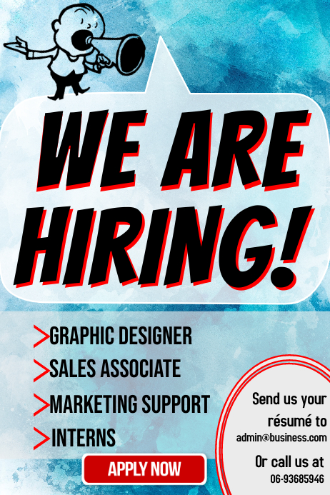 We Are Hiring Poster Template | PosterMyWall