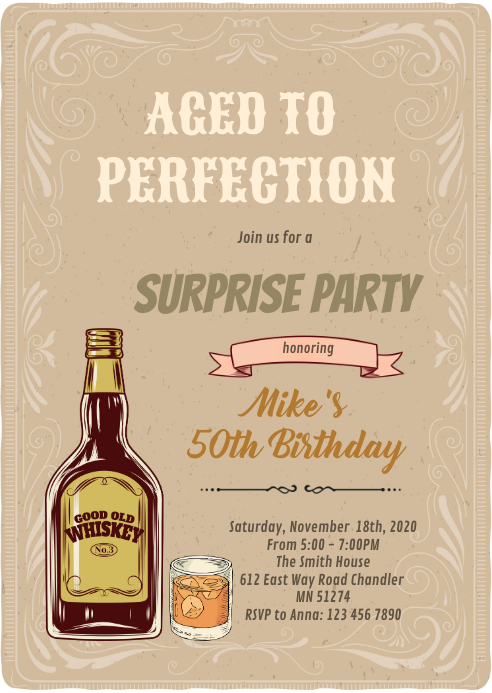 whiskey aged to perfection invitation