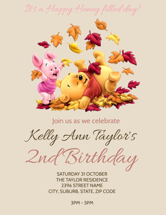 winnie the pooh party invitation