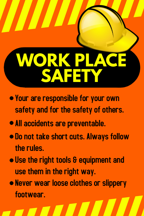 Workplace Safety Poster Template PosterMyWall