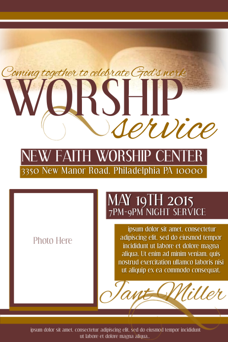 Worship Service Template  PosterMyWall