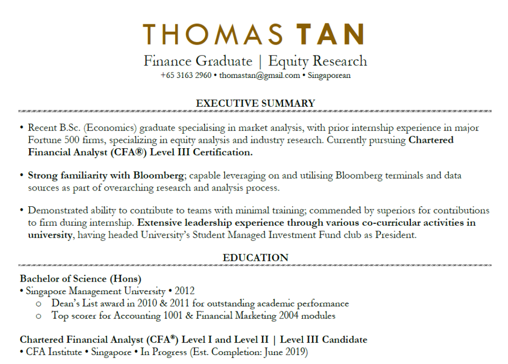 accounting fresh graduate resume sample