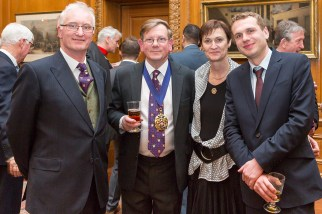 Hamish Elder and Miles Jenner, Joint Chairmen at Harvey's Brewery with Sally Jenner and Tom