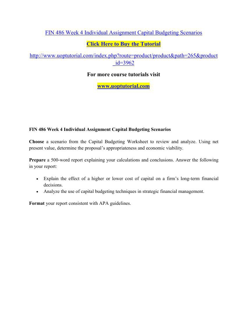 FIN 486 Week 4 Individual Assignment Capital Budgeting Scenarios by ...