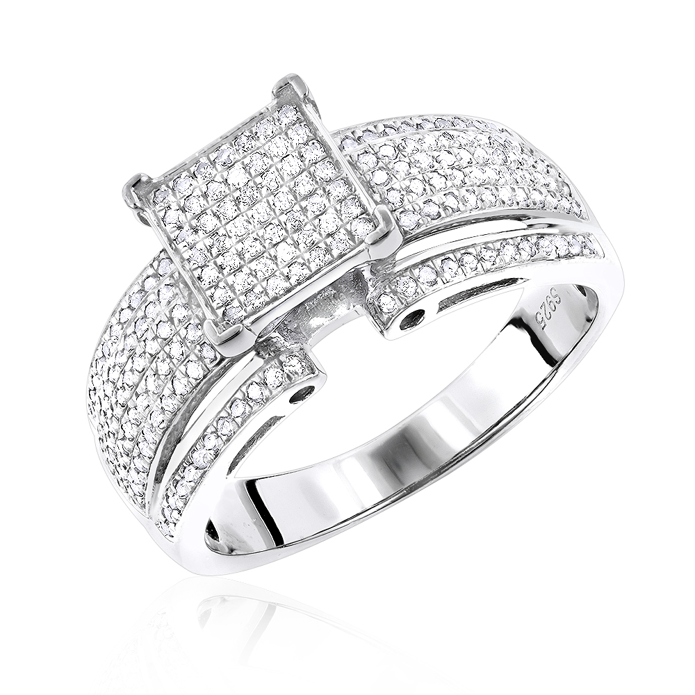 Sterling Silver Diamond Engagement Ring 092ct