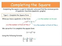 Solving Quadratic Equations By Completing The Square ...