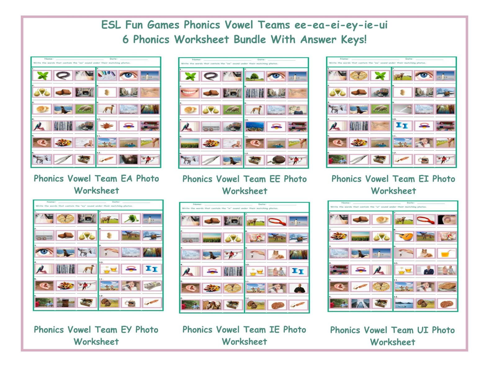 Phonics Vowel Teams Ee Ea Ei Ey Ie Ui 6 Worksheet Bundle By Eslfungames