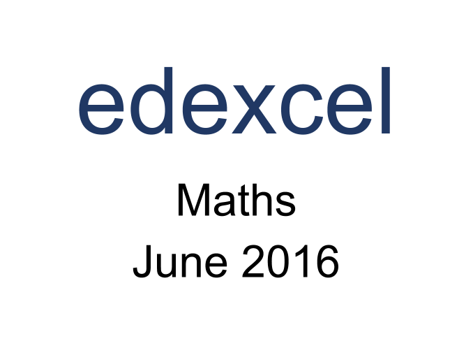 Edexcel IGCSE Maths Jun 2016 Model Answers *FREE SAMPLE