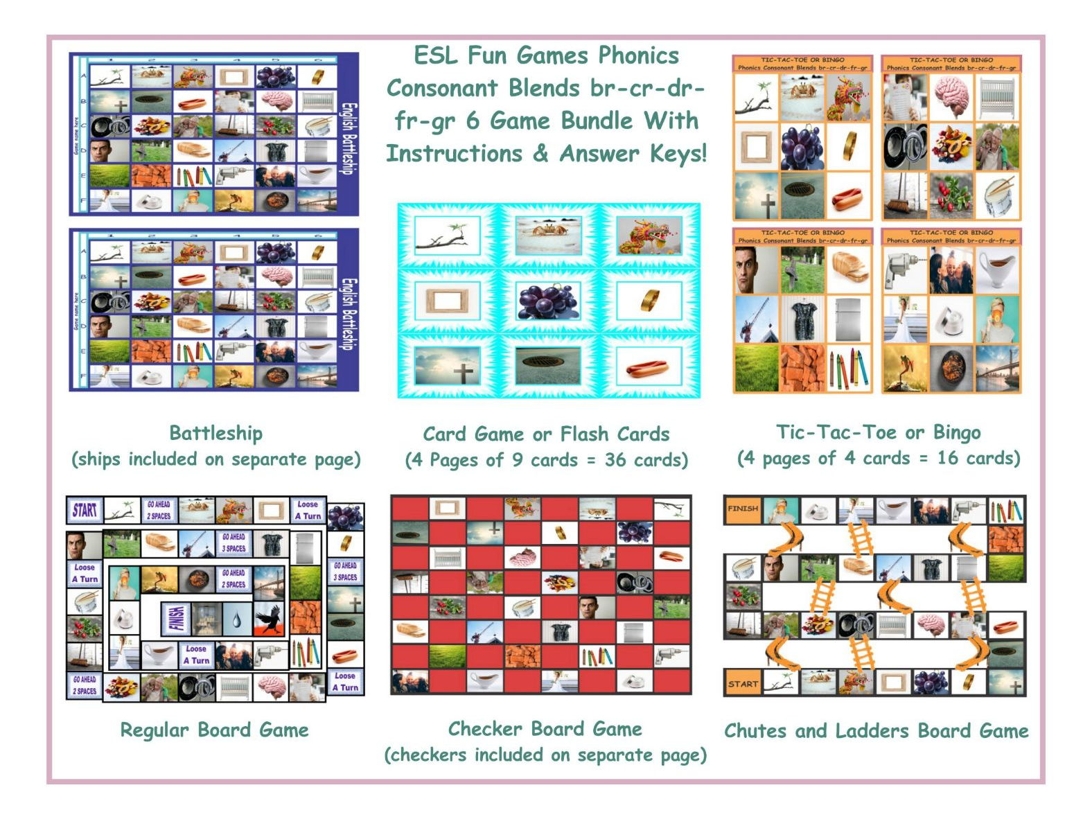 Phonics Consonant Blends Br Cr Dr Fr Gr 6 Game Bundle By