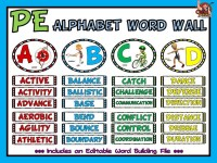 PE Alphabet Word Wall- Complete Display and Editable Word ...