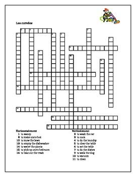 Travaux domestiques (Chores in French) Corvées Crossword