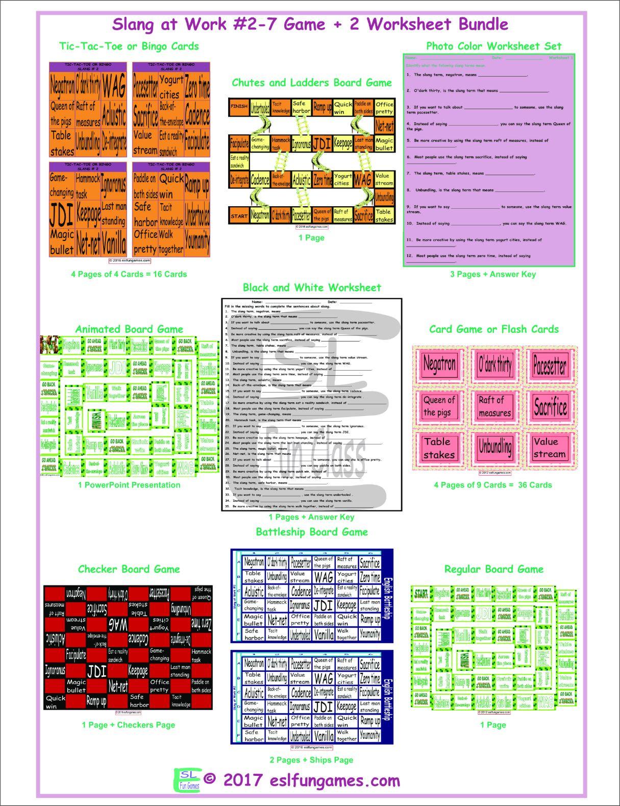 Slang At Work 2 7 Game Plus 2 Worksheet Bundle