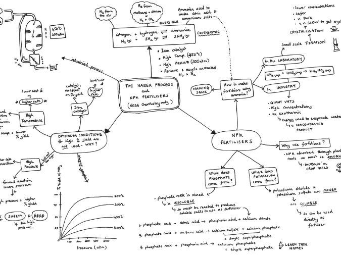 The Haber Process and NPK Fertilisers Mind Map for AQA