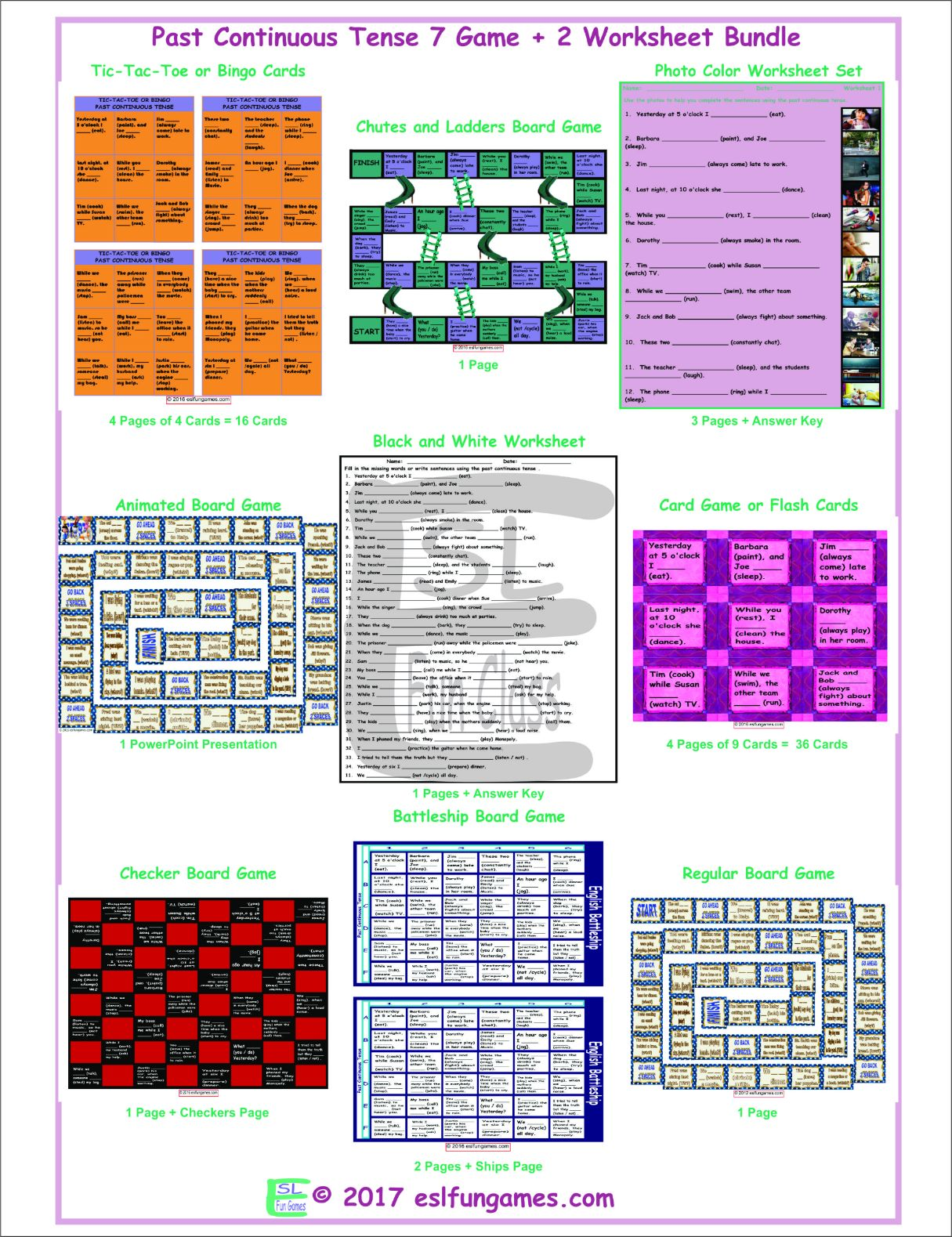 Past Continuous Tense 7 Game Plus 2 Worksheet Bundle By