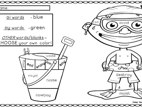 Wonderful Word Work Printable- vowel pairs oy and oi