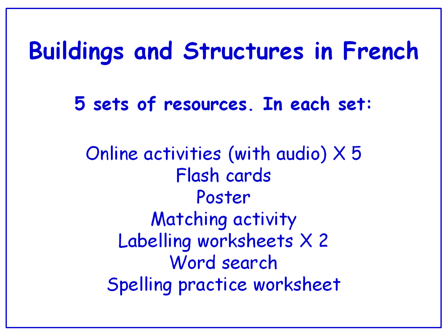 Buildings And Structures In French Worksheets Games