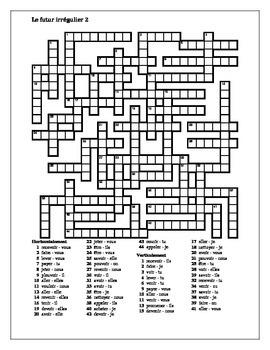 Futur (Future tense in French) Irregular verbs Crossword 2