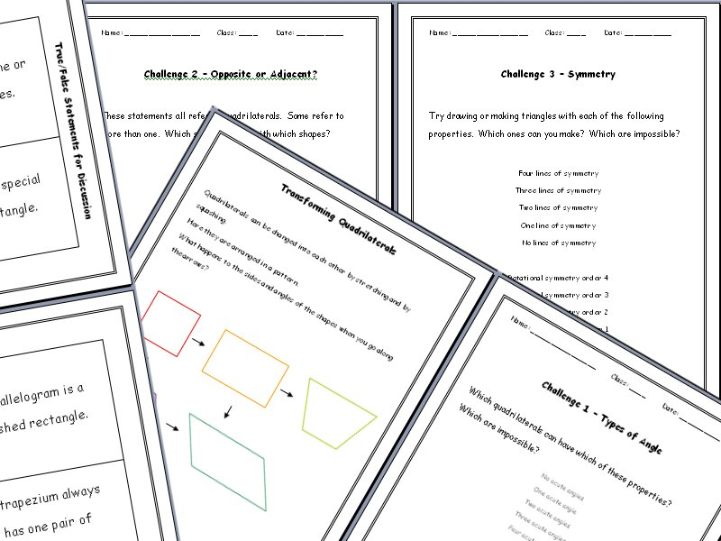 Quadrilaterals Investigation: Angles, Sides and Symmetry