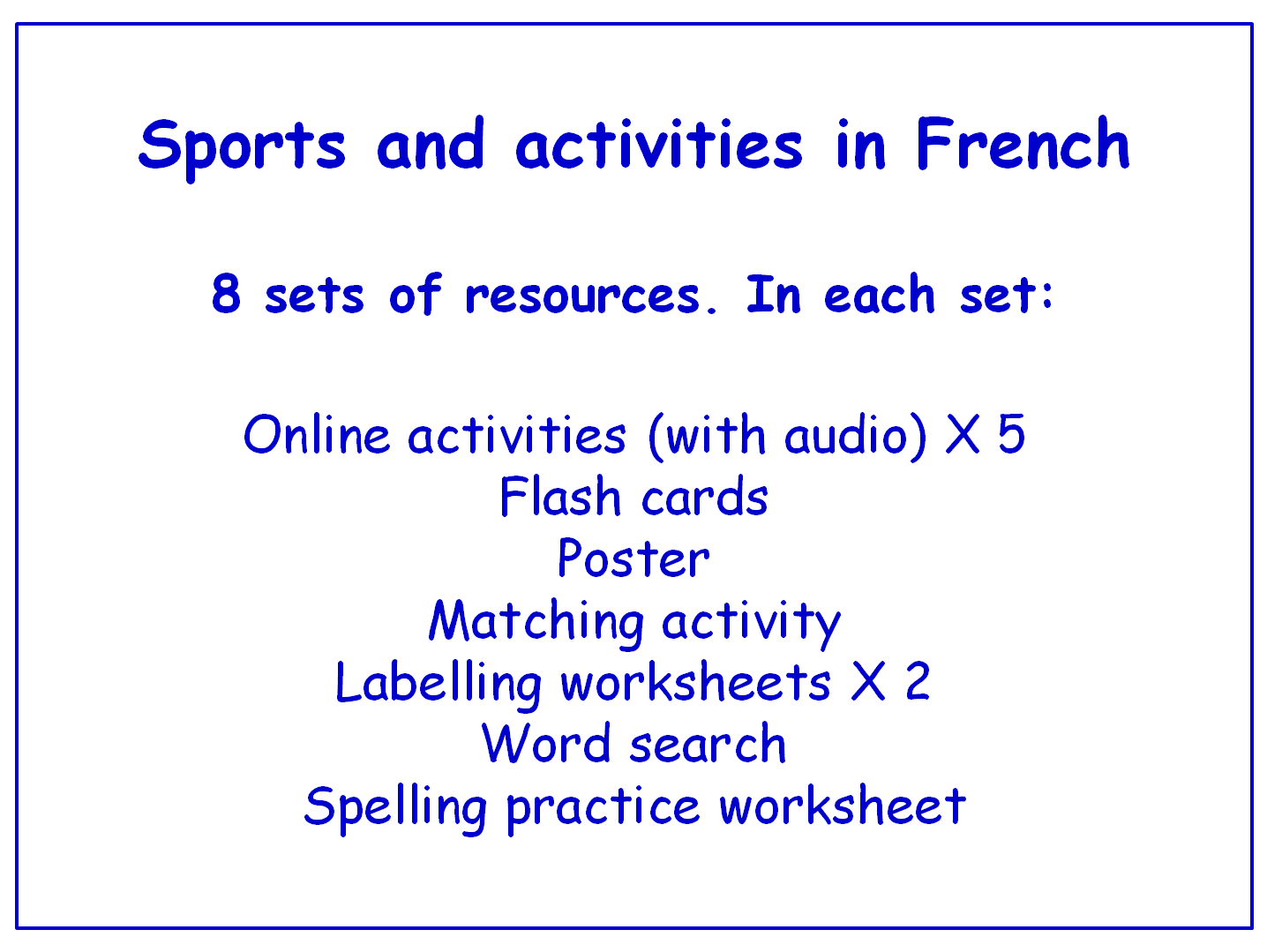 Sports In French Worksheets Games Activities And Flash Cards With Audio Bundle 8 Sets By