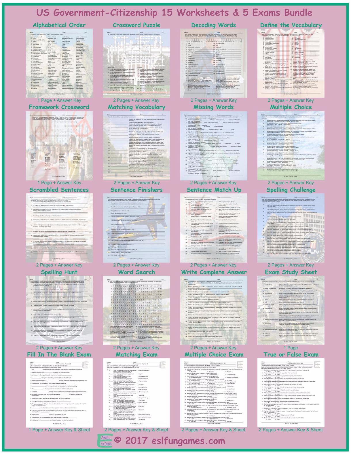 Us Government Citizenship 20 Worksheet Exam Bundle
