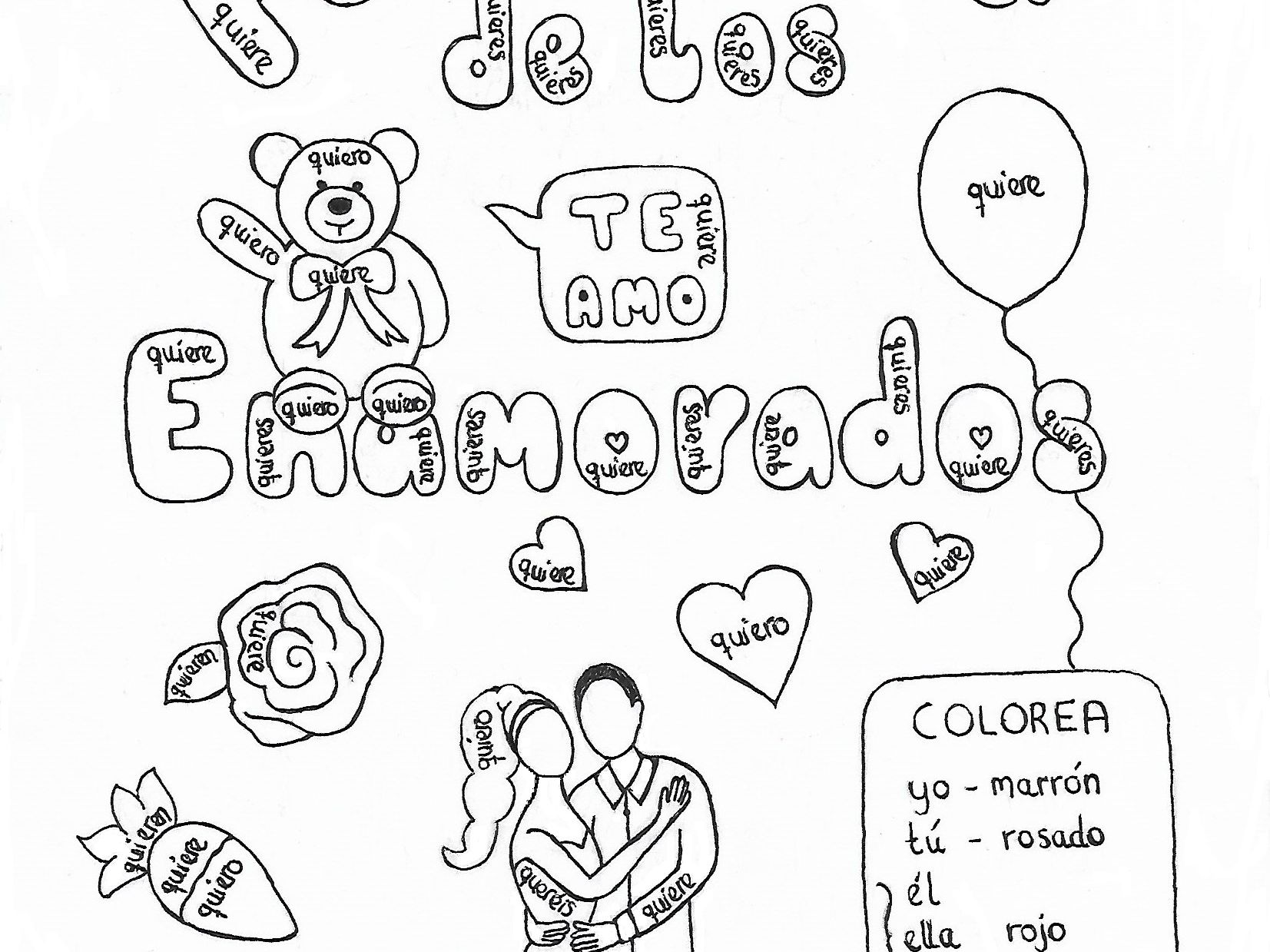 Hand Drawn Color By Conjugation Worksheets For Valentine S