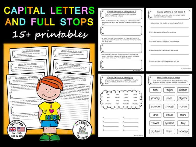 Capital Letters  Full Stops  Literacy  15 printables