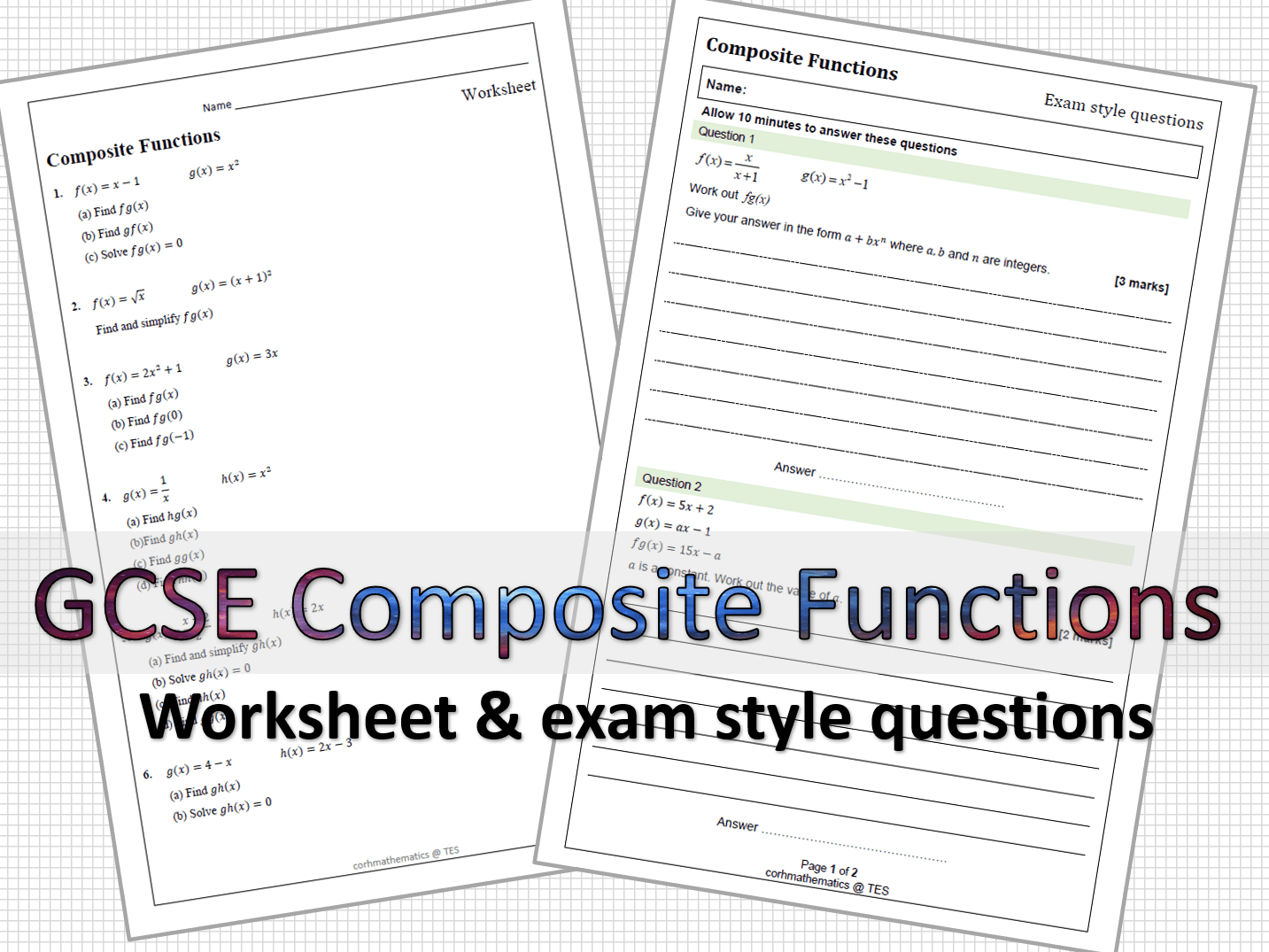 Composite Functions Worksheets