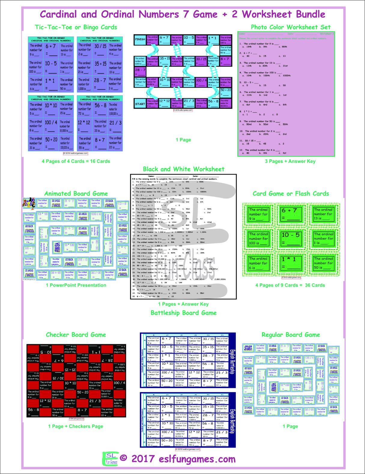 Cardinal And Ordinal Numbers 7 Game Plus 2 Worksheet Bundle By Eslfungames