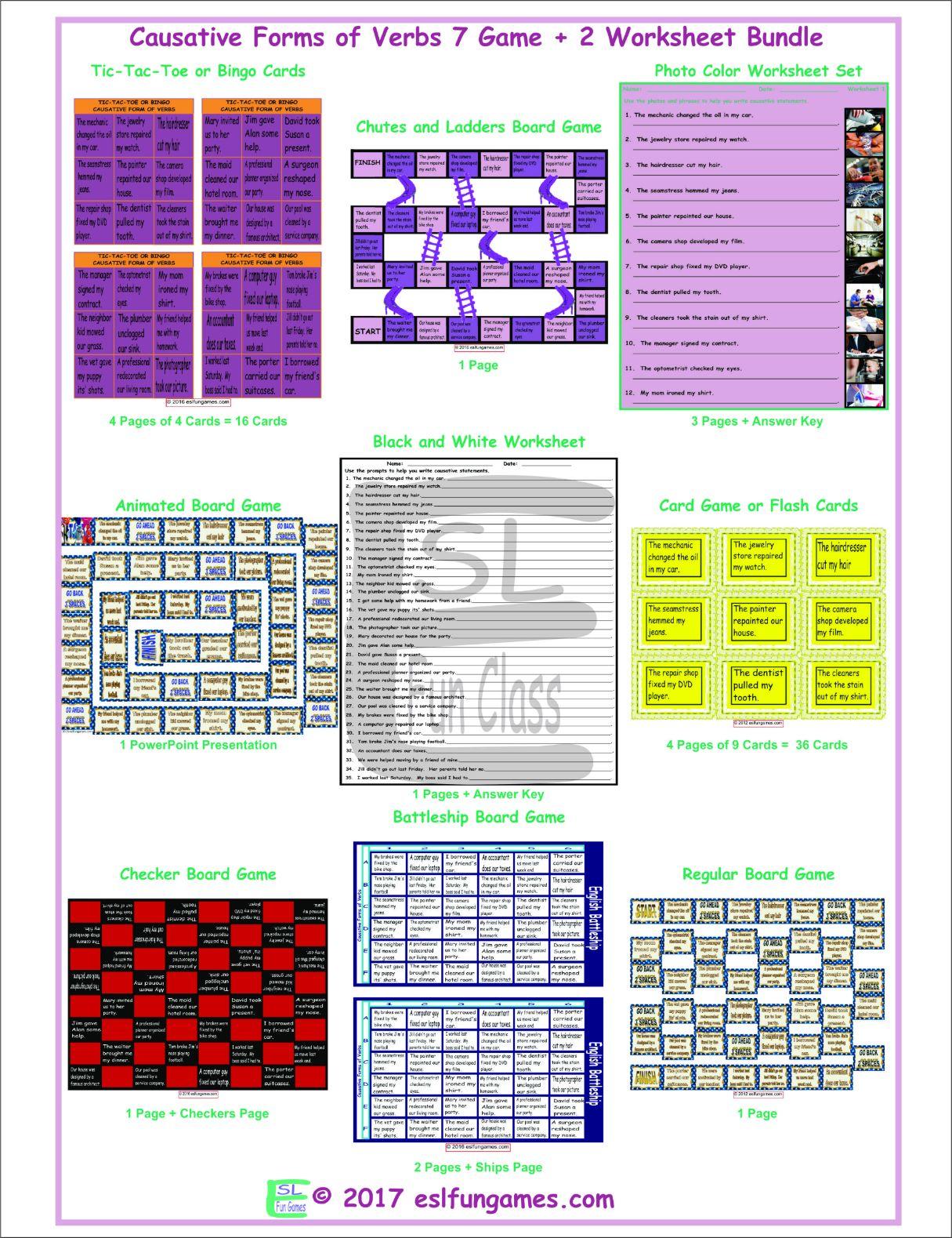 Causative Forms Of Verbs 7 Game Plus 2 Worksheet Bundle