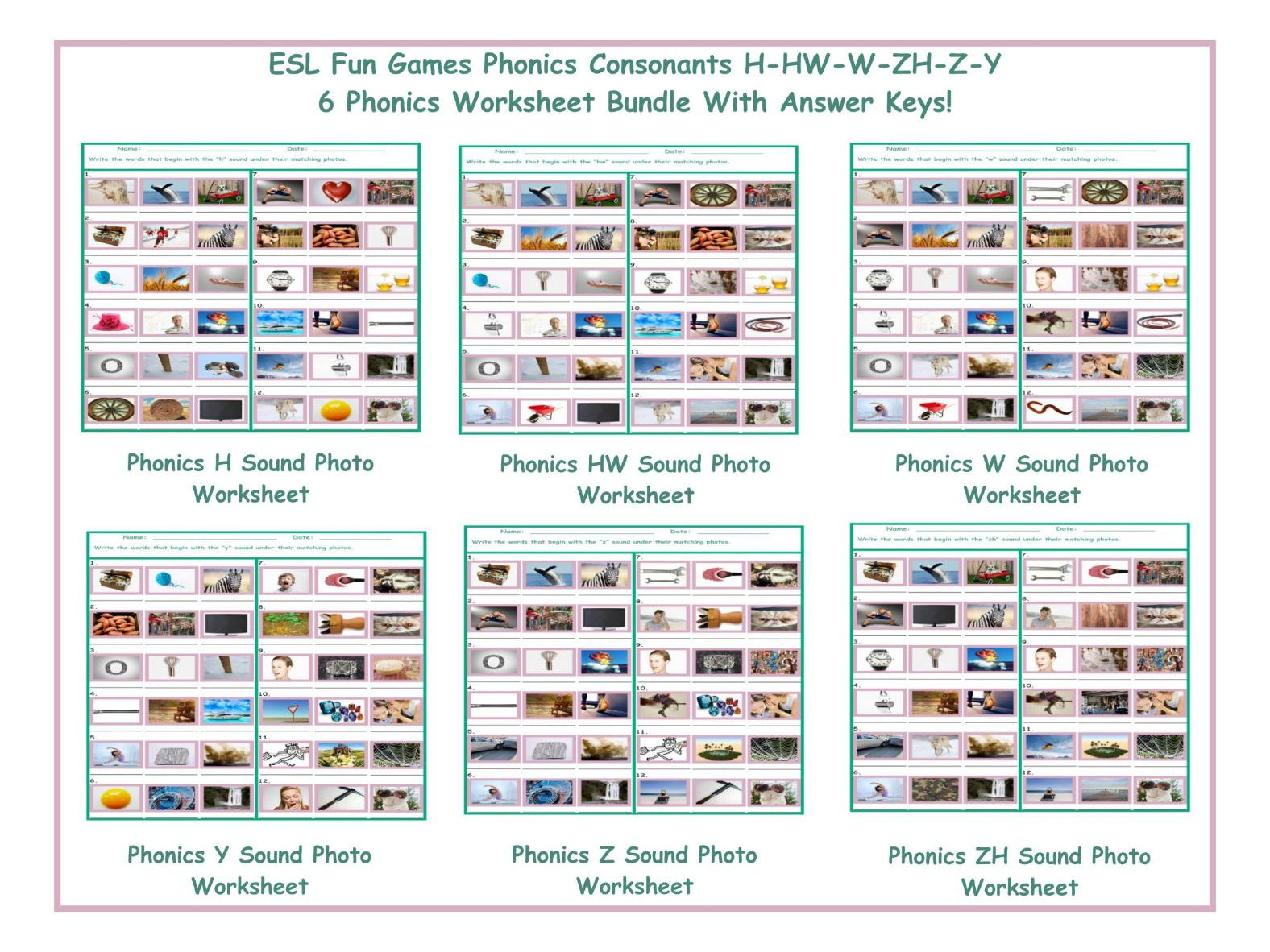 Phonics Consonants M N Q R V X 6 Worksheet Bundle By