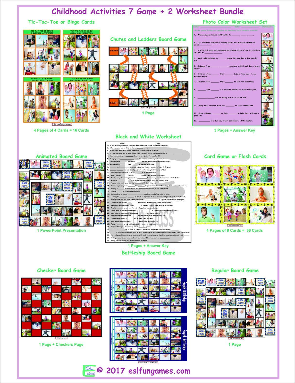 Childhood Activities 7 Game Plus 2 Worksheet Bundle