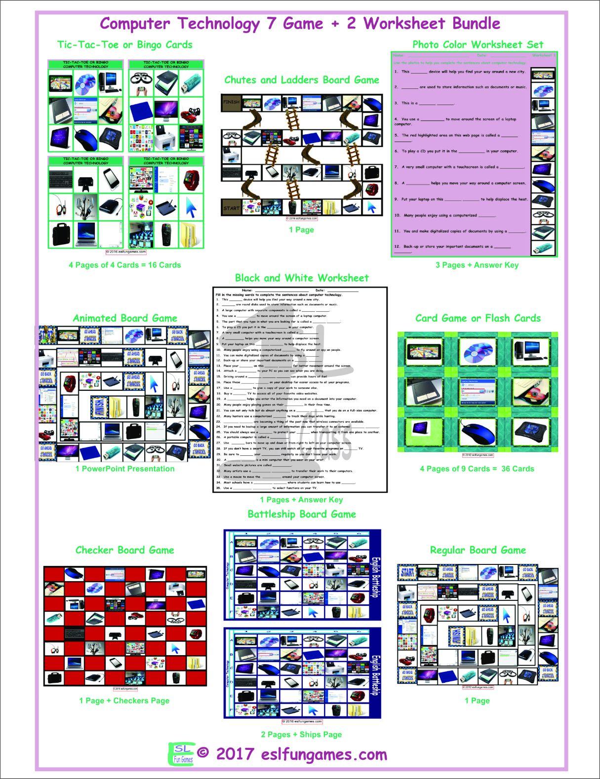 Computer Technology 7 Game Plus 2 Worksheet Bundle