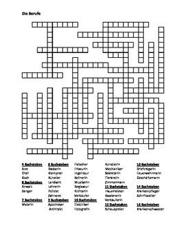 Berufe (Professions in German) Kriss Kross puzzle by