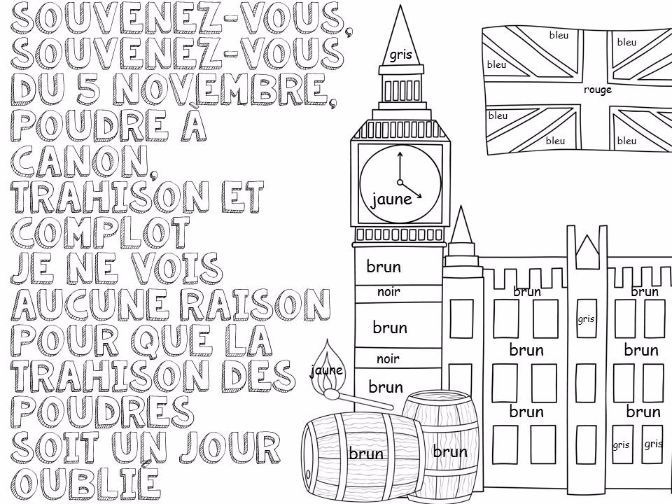 French Colouring Sheets x 5 Bonfire Night by