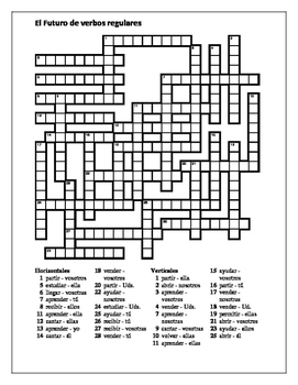 Futuro (Future in Spanish) Regular verbs Crossword by