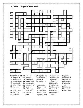 Passé Composé avec avoir ALL verbs Crossword by jer520