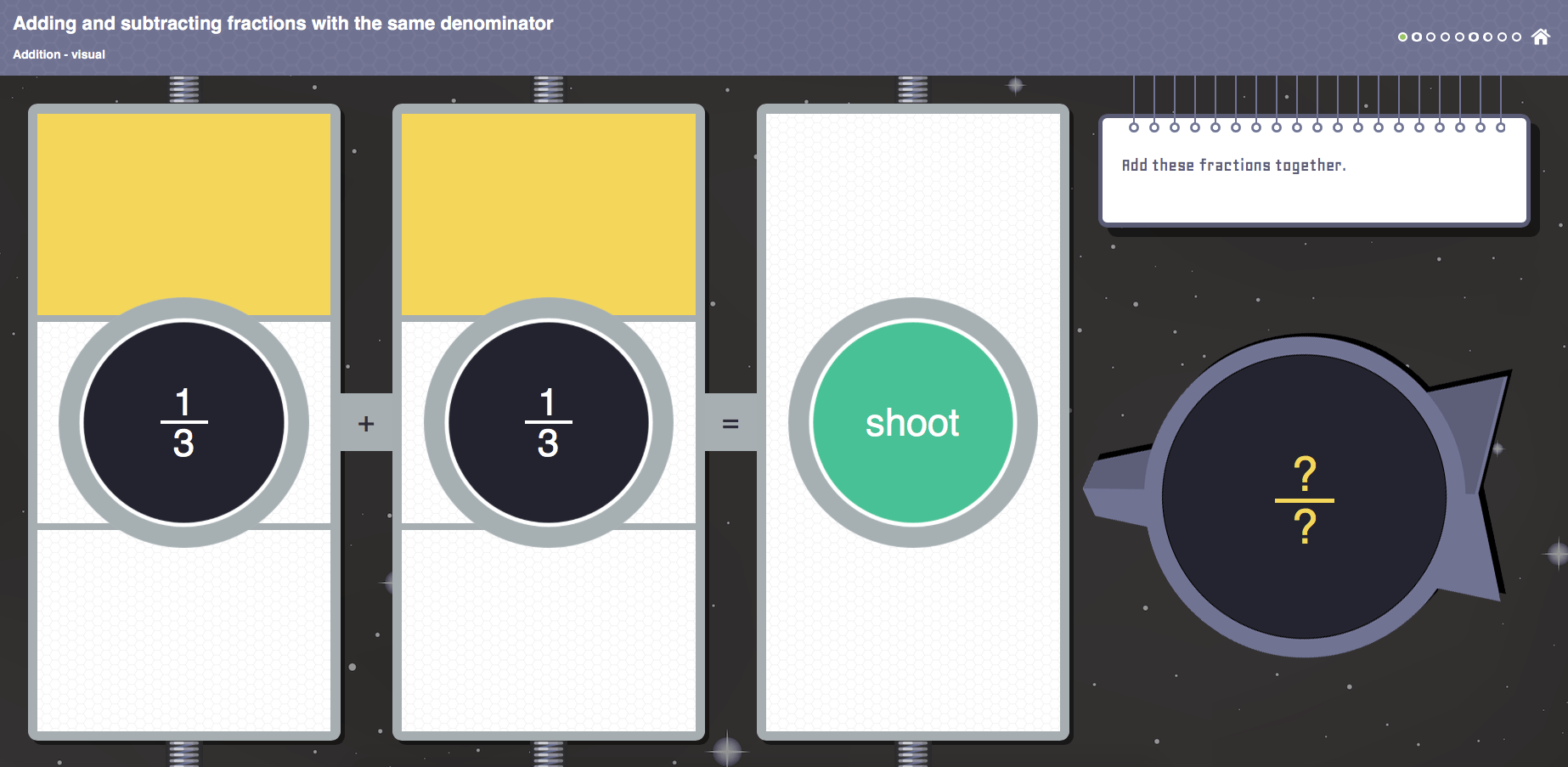 Adding Fractions Visual Interactive Activity