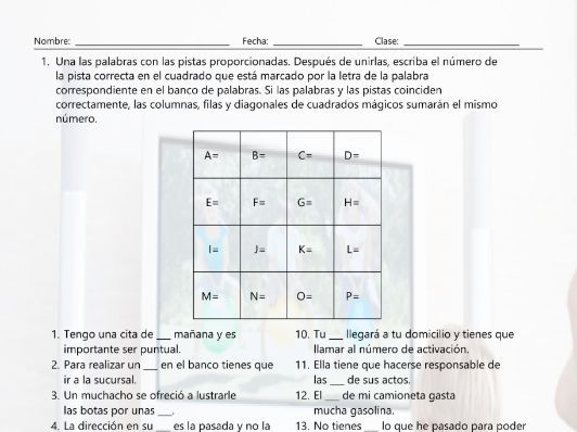 Common Nouns 1 Magic Square Spanish Worksheet by